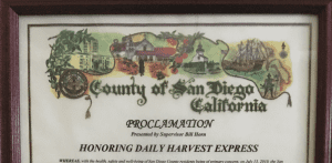 "County of San Diego declares Nov 2nd ""Daily Harvest Express Day"""