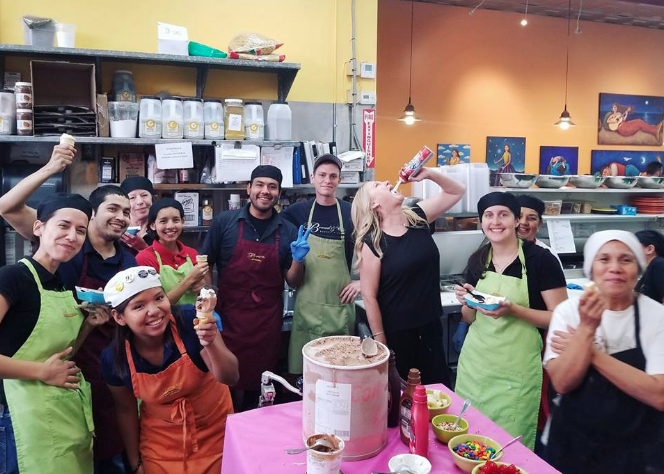 Some of the Bread & Cie crew enjoying an ice cream social for employee appreciation day.